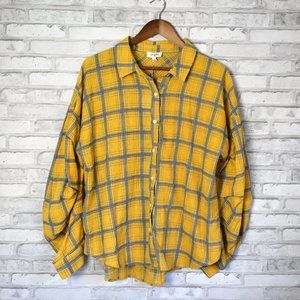 Umgee Mango Mix Plaid Button Down Long Sleeve Top